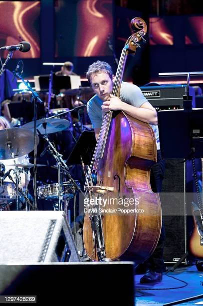 Double bass player Chris Hill performs live on stage during a Proms concert at the Royal Albert Hall in London on 26th August 2010.