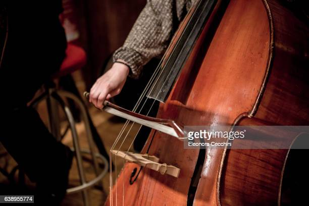 double bass while playing - stringed instrument stock pictures, royalty-free photos & images
