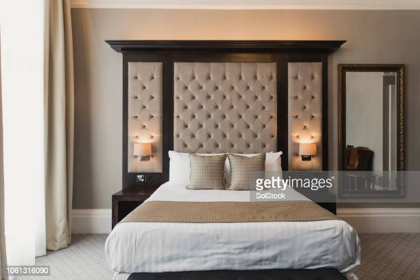 double bed in hotel - hotel stock pictures, royalty-free photos & images