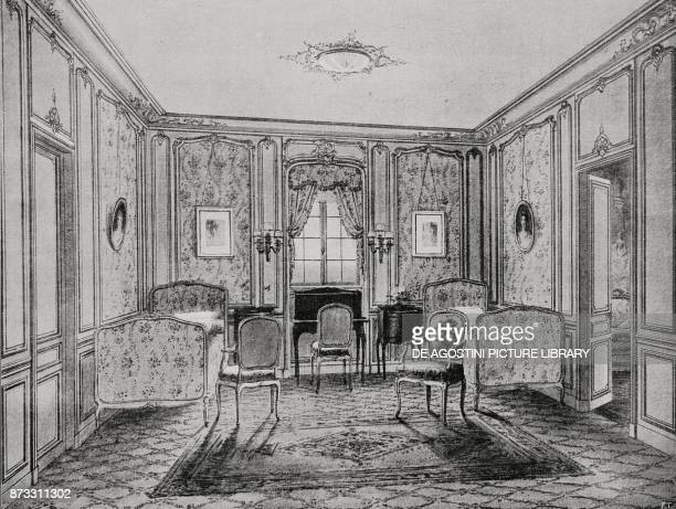 Double bedroom of a private apartment on the Italian steamer Duilio drawing from L'Illustrazione Italiana Year XLIII No 13 March 26 1916