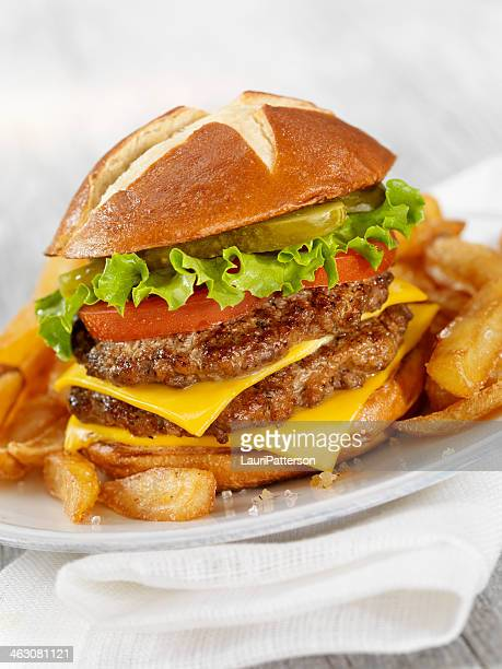 double cheeseburger - sweet bun stock pictures, royalty-free photos & images