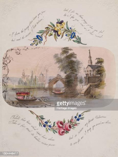 Double cobweb valentine with Venetian scene, 1830-50. Artist Anon.