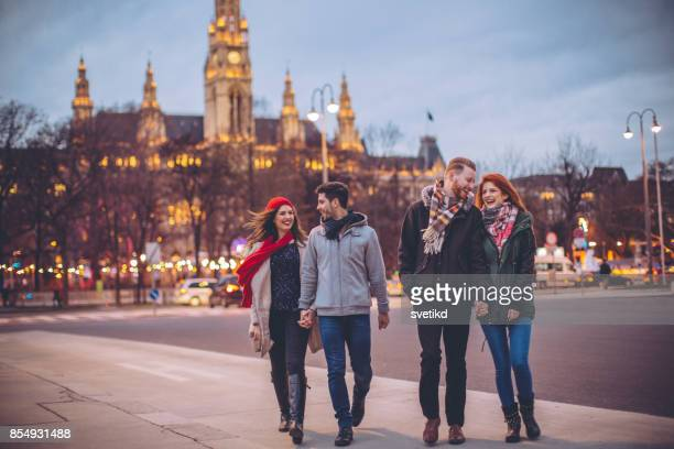 double couple date! - vienna austria stock pictures, royalty-free photos & images