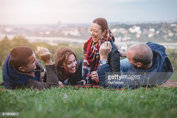 double date outdoors on the slopes of the city