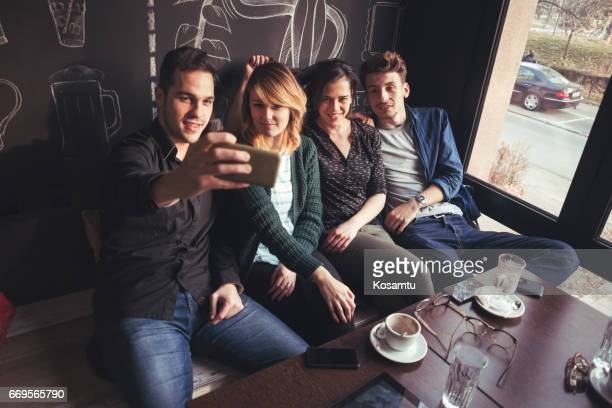 Double Dating And Making Selfies At Cafe