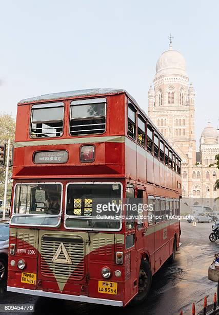 Double decker bus, Mumbai Municipal Corporation building in background, Mumbai, India