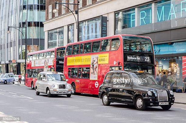 Double decker buses and taxi