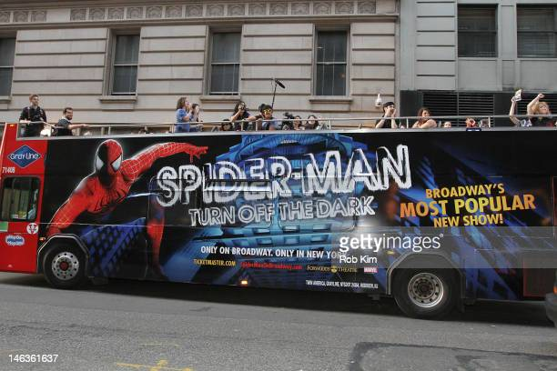 A double decker SpiderMan bus arrives for the SPIDERMAN Turn Off The Dark One Year Anniversary at Foxwoods Theater on June 14 2012 in New York City
