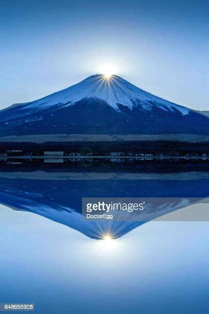 Double Diamond Fuji at Yamanakako Lake, Japan