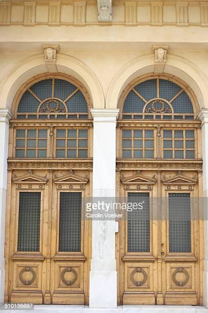 Double door entrance in Athens, Greece