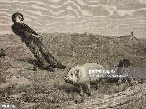A double entendre a boy with a pig attached to the rope by Briton Riviere illustration from the magazine The Graphic volume XIII no 329 March 18 1876