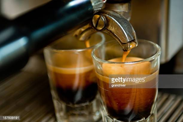 double espresso shot - espresso stock photos and pictures