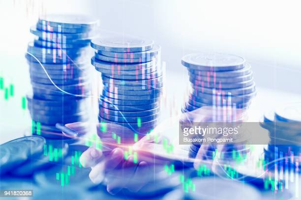 double exposure business financial business data report and stock market concept, stock market or trading graph and coin - forex trading stock pictures, royalty-free photos & images