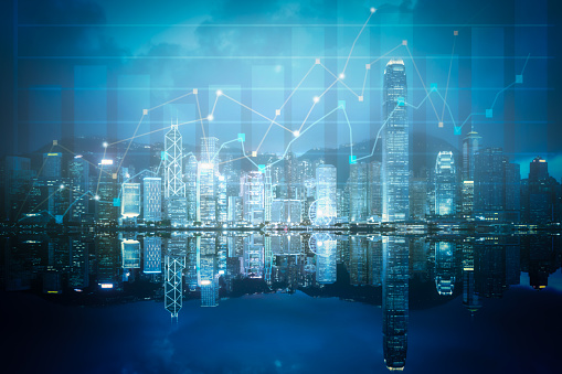 Double exposure business technology at abstract financial charts in sky on city background. Business information concept - gettyimageskorea