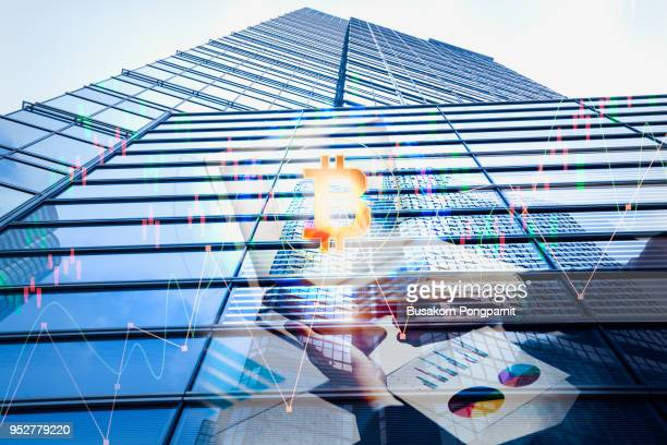 Double exposure businessman and stock market or forex graph for financial investment technology concept