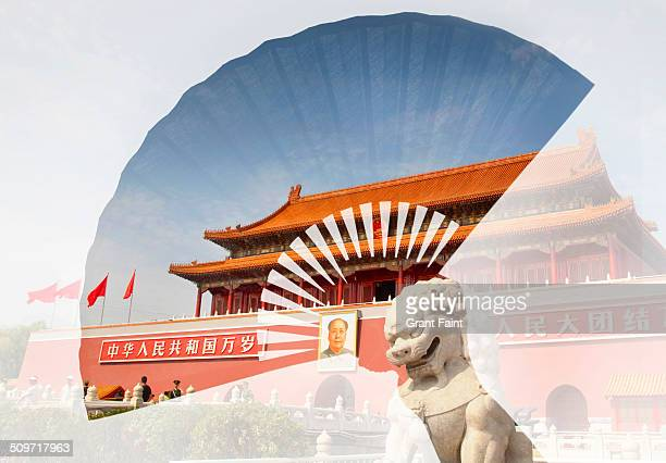 Double exposure: Chinese fan  and building entranc