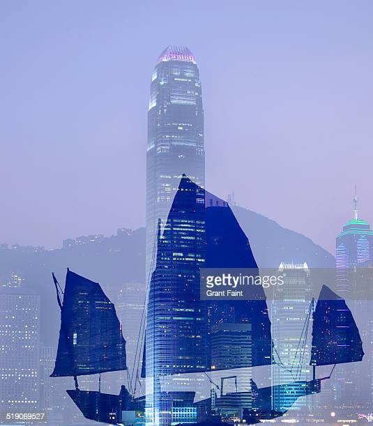 Double exposure: Hong Kong skyline