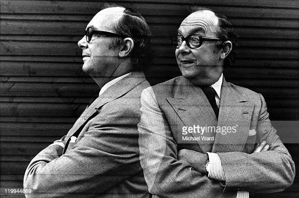 A double exposure image of British comedian Eric Morecambe at home 1979