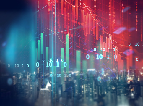 double exposure image of stock market investment graph and city skyline scene. 985400598