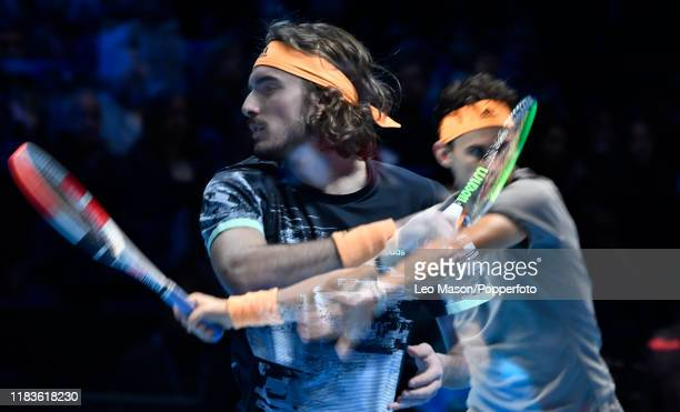 A double exposure made in camera featuring Stefanos Tsitsipas of Greece against Dominic Thiem of Austria in their Final match during Day Eight of the...