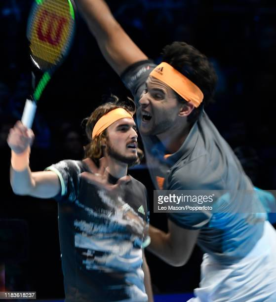 A double exposure made in camera featuring Stefanos Tsitsipas of Greece and Dominic Thiem of Austria in their Final match during Day Eight of the...