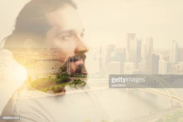 Double Exposure Man With Beard And City