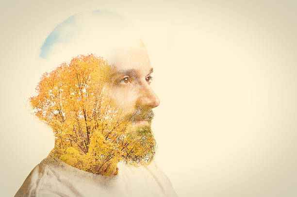 Double Exposure Man With Beard And Fall Trees Wall Art