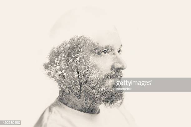Double Exposure Man With Beard And Trees