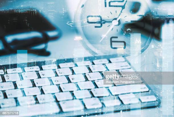 double exposure money pile coin on computer laptop. business online success concept - einzahlungsbeleg stock-fotos und bilder