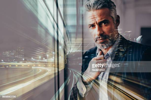 Double exposure of a businessman
