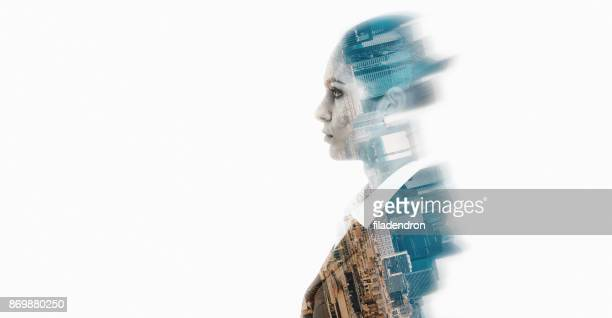double exposure of a businesswoman - fading stock pictures, royalty-free photos & images
