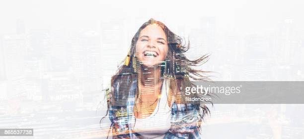 Double exposure of a dancing woman