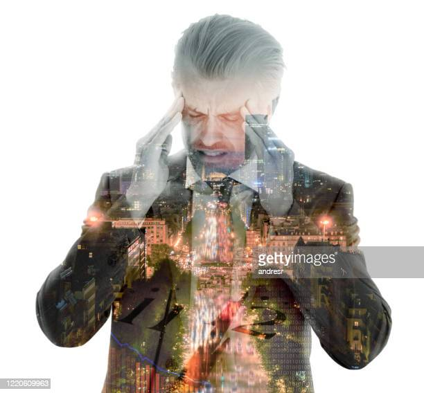 double exposure of a stressed business man having a headache - decline stock pictures, royalty-free photos & images