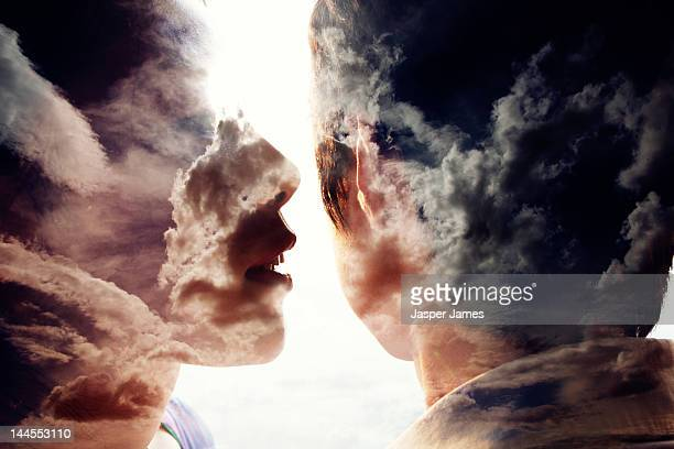 double exposure of a woman talking to a man
