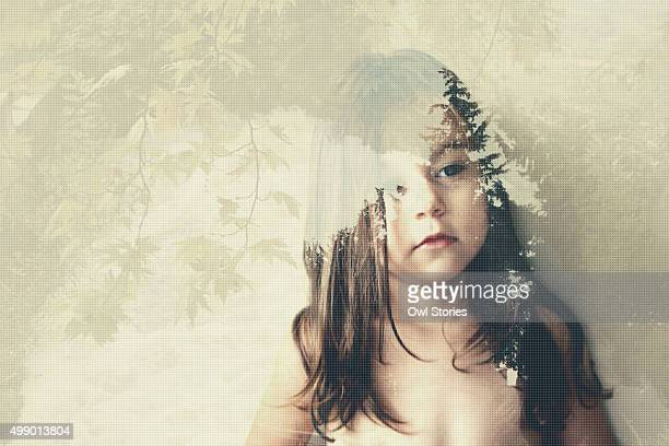 Double exposure of a young child