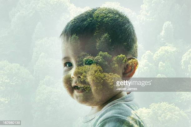 double exposure of baby and trees