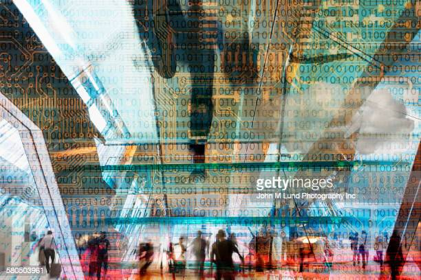 double exposure of binary code over busy lobby - binary code stock pictures, royalty-free photos & images