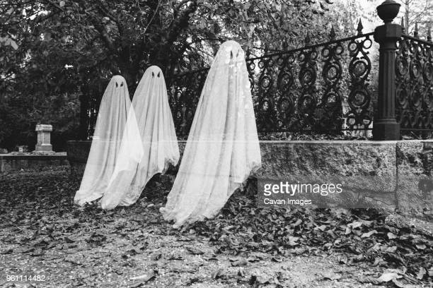 double exposure of boys in ghost costumes at cemetery during halloween - ghost stock pictures, royalty-free photos & images