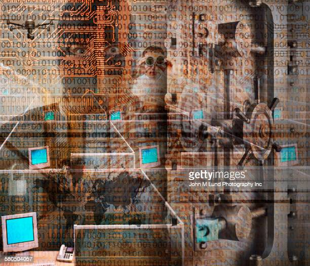 Double exposure of burglar over locked vault and computers