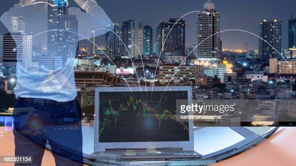 Double exposure of  Business man and network connection technology ,  management concept  .