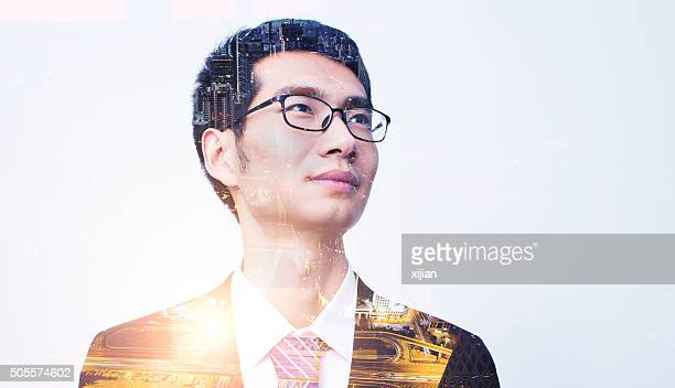 Double exposure of businessman portrait