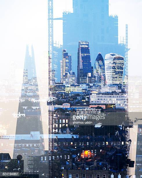 Double exposure of City of London skyline