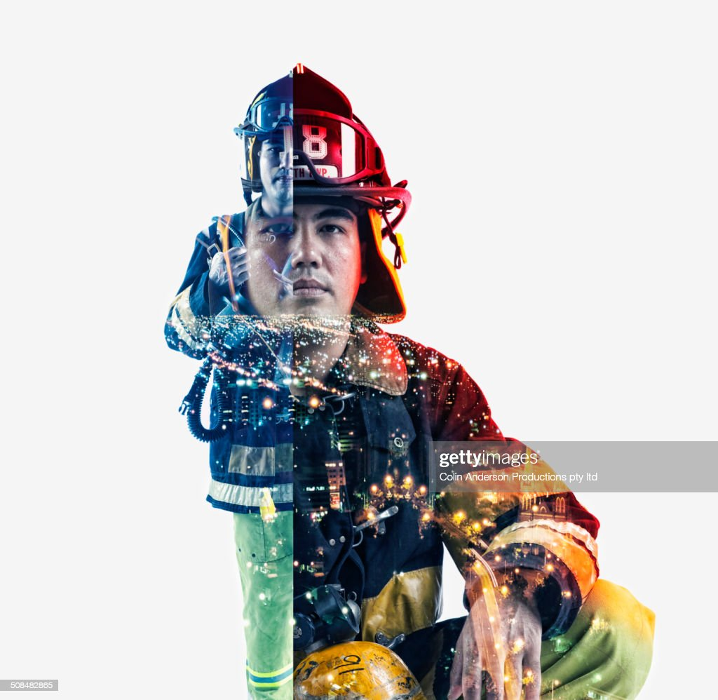 Double exposure of cityscape and fire fighter : Stock Photo