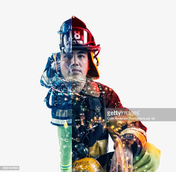 double exposure of cityscape and fire fighter - beschützer stock-fotos und bilder