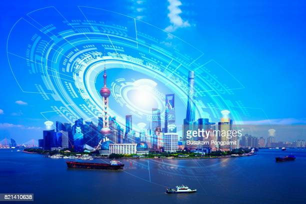 Double exposure of cityscape with social network and technology