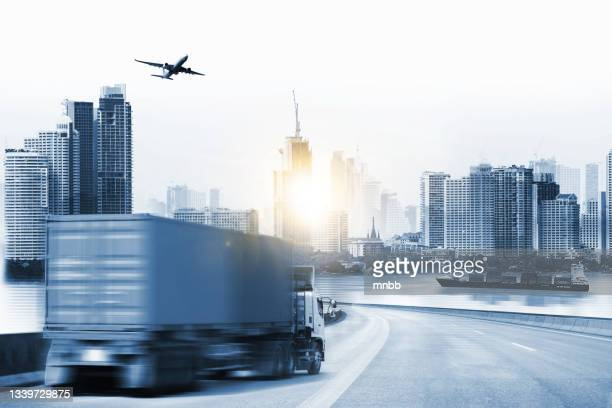 double exposure delivery industry logistics concept