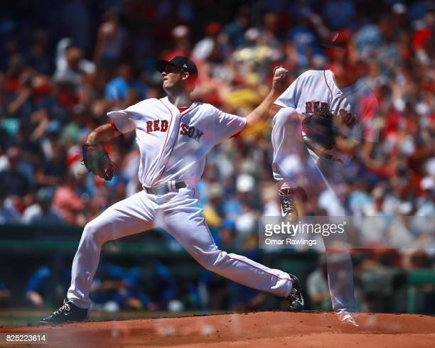 A double exposure of Drew Pomeranz of the Boston Red Sox pitching at the top of the third inning during the game against the Kansas City Royals...