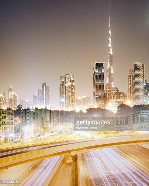 Double exposure of Dubai City at night