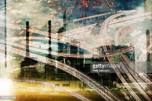 Double exposure of highway and power plant