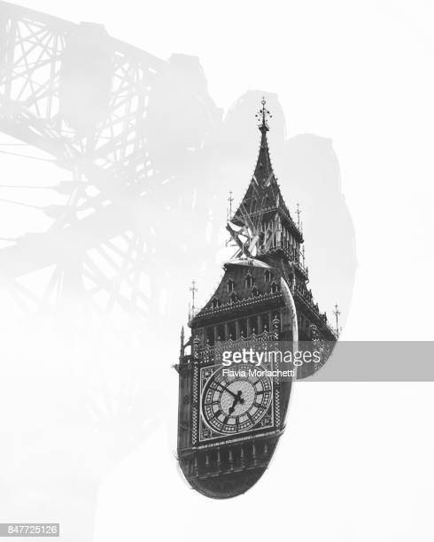 Double exposure of London icons